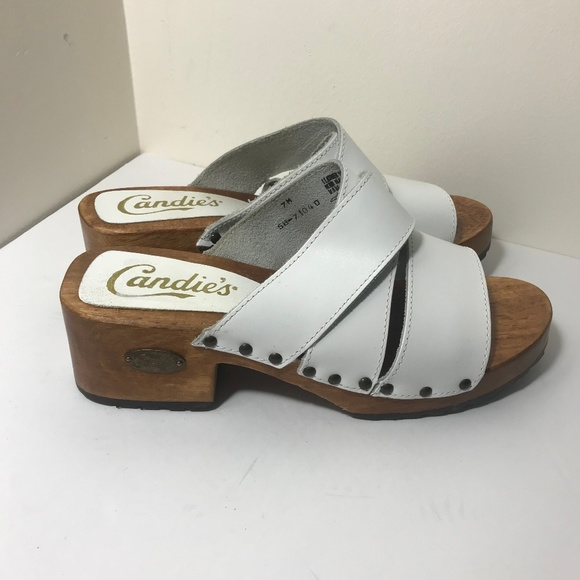 Vintage Candies White Leather Wood Clogs Shoes